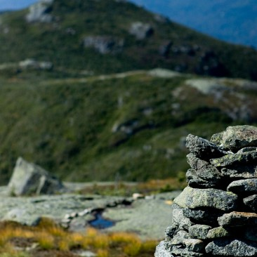 A cairn on Algonquin looking towards Iroquois