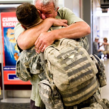 Dennis Oldt welcomes his son, Cpl. Dean Oldt, on July 13 2008.