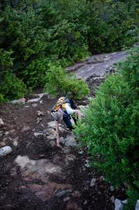 Kathy ascending the Macomb Slide