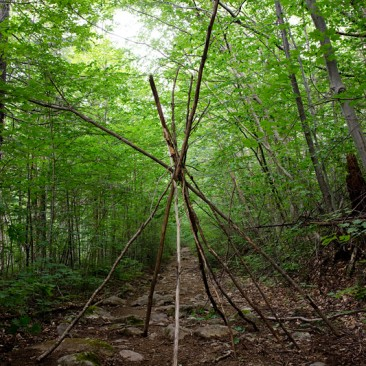 Someone started a teepee on the Dix Mt. trail