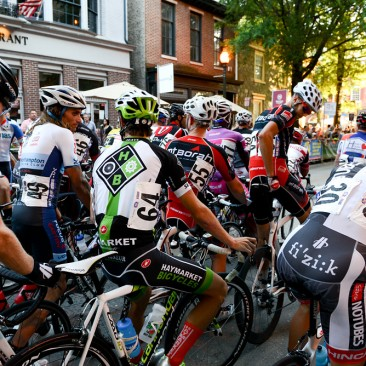 West Chester, PA: Riders line up at the start of the men's professional race during the West Chester Iron Hill Twilight Criterium, Saturday July 6, 2013.