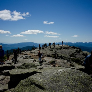 The packed summit of Whiteface Mountain