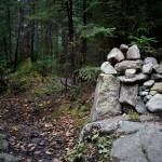 The cairn marking the Santanoni Express trail