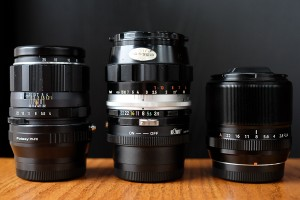 (L-R) Super-Multi-Coated Macro-Takumar 1:4 50mm, Nippon Kogaku Micro-Nikkor 1:3.5 f-55mm, Fujinon Super EBC 1:2.4 60mm