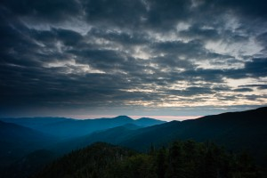 Pre-sunrise view of Giant and Rocky Peak Ridge from Mount Colvin, Adirondack Park, New York.