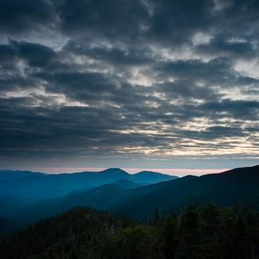 Pre-sunrise view of Giant and Rocky Peak Ridge from Mount Colvin, Adirondack Park, New York.