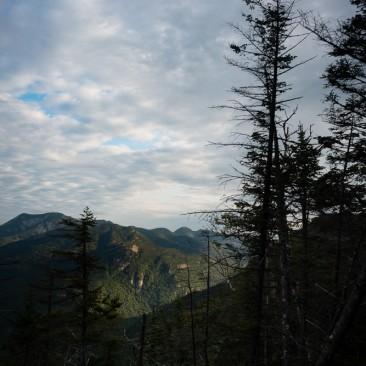 View of Sawteeth and the lower Great Range from Blake Peak, Adirondack Park, New York.