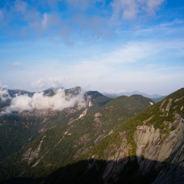 View of the upper Great Range from Pyramid, Adirondack Park, New York.