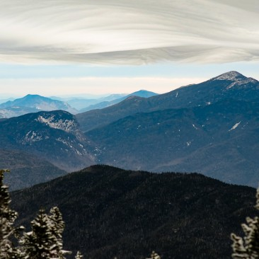 Lenticular clouds form above Algonquin Peak, as seen from Santanoni.