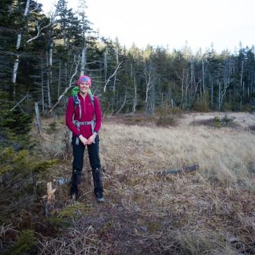 Kathy at the foot of Elk Pass