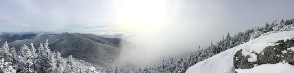 Clouds departing over Rocky Peak Ridge, seen from Giant Mt.