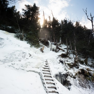 Partially frozen ladder between Armstrong & Upper WolfJaw
