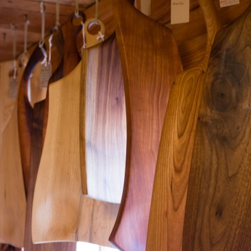 Handmade cutting boards at a shop in Keene, NY.