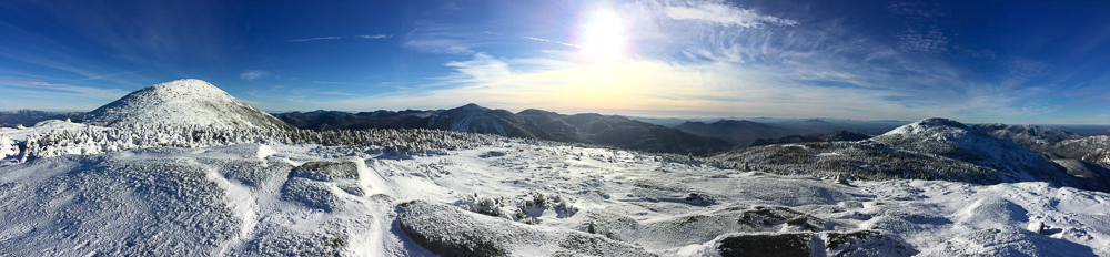Panoramic view from Boundary Peak between Algonquin Peak and Iroquois Peak.