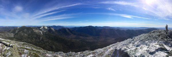 Haystack panorama (l-r): Basin, Gothics, Giant/Rocky Peak, Sawteeth, Dix Range, Colvin Range
