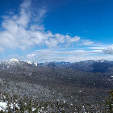 Panorama: Skylight, Marcy, Haystack, Giant/RPR, Colvin Range, Dix Range, Boreas Ponds, Elk Lake from Allen
