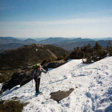 Snowshoes early (Wright Peak behind Kathy)